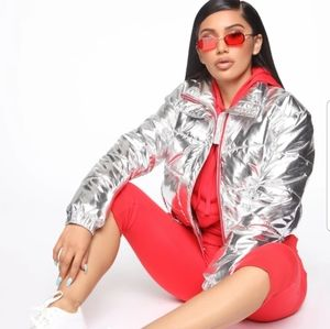 *NWT* Fashion nova sliver puffer jacket 2x